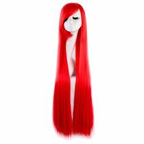 ¡ Peluca Cosplay Extra Larga Cabello Liso De 100cm Rojo !