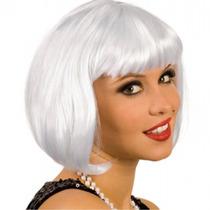 ¡ Peluca Corta D Fantasía Para Fiestas & Halloween Blanco!!