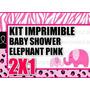 Kit Imprimible Baby Shower Elefante Y Jirafa 2x1