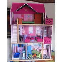 Casa Muñecas Barbies Juguetes Madera Tres Pisos Ascensor