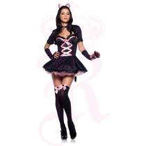Medias Para Disfraces Halloween Moño Rosado Calceta Negra