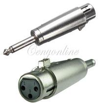 Convertidor Metalico 1/4 Mono A Plug 3 Pines Jack De Microfo