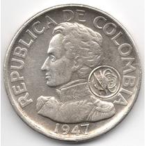 50 Centavos 1947 Con Resello Numismáticos Colombianos 1975