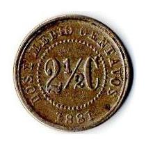 Moneda 2 1/2 Cent Estados Unidos De Colomb 1881 Pequeña 14mm