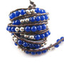Brazalete Cuero Cuentas Surf Azul Piedra Jade - Bling Jewelr