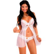 Baby Doll Ensueño Blanco, Lencería Sexy Para Mujer