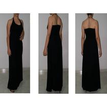 Vestido Negro Largo En Chifon, Elegante Fiesta.