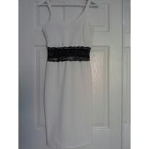 Vestido Blanco Con Aplique En Blonda Negro En Cintura