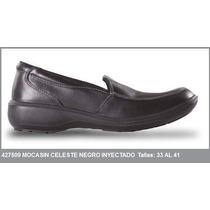 Mocasin Celeste Liso Negro Pu Inyectado Rh Kondor Medellin