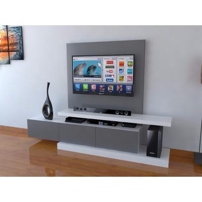 Mueble para tv con mural para ocultar cables ref mural16 - Muebles para la television modernos ...