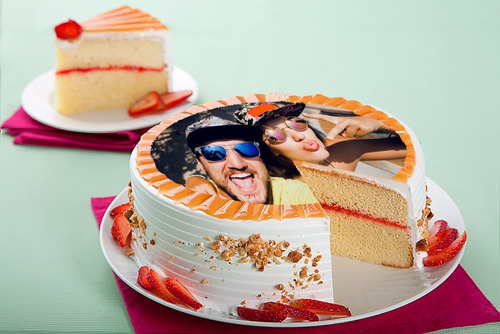 Foto Torta Ponque Impresion En Papel Comestible Azucar