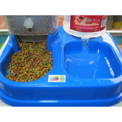 Dispensador comida y agua perro gato doble portatil for Dispensador de comida para perros